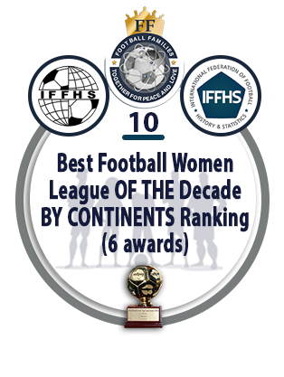 Best Football Women League of the Decade by Continents Ranking (6 AWARDS).