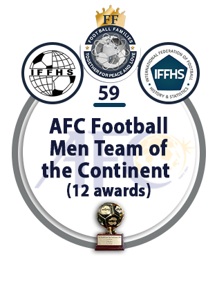 AFC Football Men Team of the Continent (12 awards).