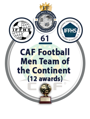 CAF Football Men Team of the Continent (12 awards).