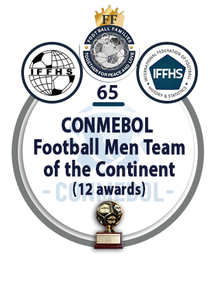 CONMEBOL Football Men Team of the Continent (12 awards).