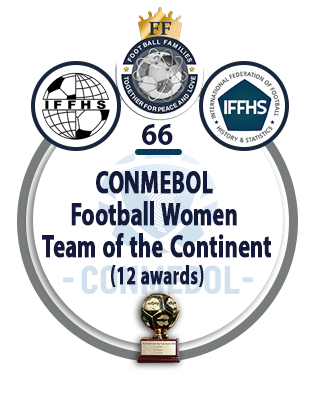 CONMEBOL Football Women Team of the Continent (12 awards).
