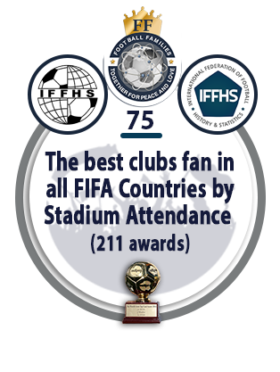 The best clubs fan in all FIFA Countries by Stadium Attendance (211 awards).